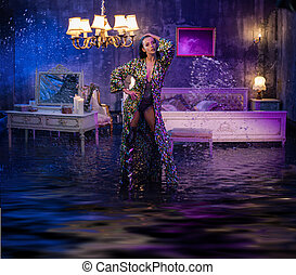 Portrait of a beautiful lady in a conceptual flooded apartment