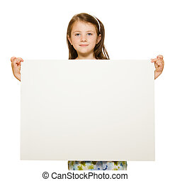 Portrait of a beautiful little girl holding blank sign with ...