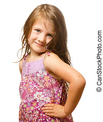 Portrait of a beautiful little girl Isolated on white background