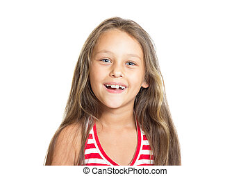 portrait of a beautiful little girl on white background
