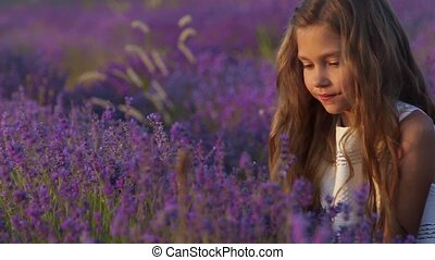 Portrait of a beautiful little girl sniffing lavender in the...