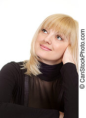 Portrait of a beautiful luck happy blonde Caucasian female