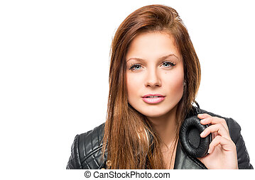 portrait of a beautiful model with headphones on white background