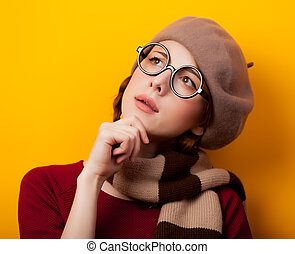 nerd girl with scarf and eyeglasses