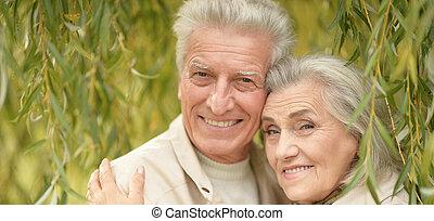 Portrait of a beautiful senior couple hugging
