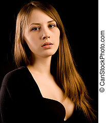 beautiful sexy girl on a black background