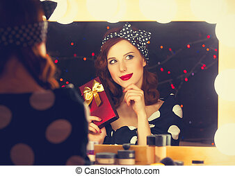 woman with present box