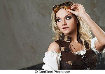 Portrait of a beautiful steampunk woman in Aviator glasses...