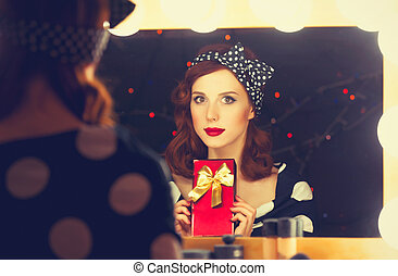 surprised woman with present box