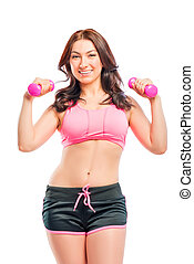 portrait of a beautiful trainer with dumbbells on a white backgr