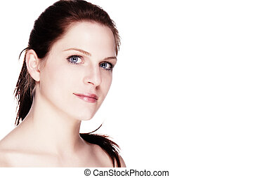 portrait of a beautiful wellbeing woman on white background