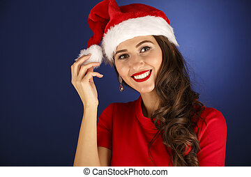 portrait of a beautiful woman Christmas concept