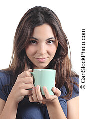 Portrait of a beautiful woman holding a cup