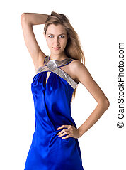 portrait of a beautiful woman in blue dress isolated