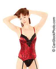 Portrait of a beautiful woman in erotic lingerie