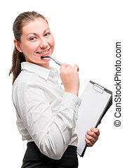 portrait of a beautiful woman in office clothes on a white background