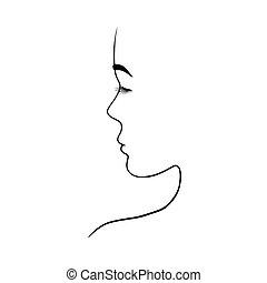 portrait of a beautiful woman in profile