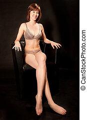 Portrait of a beautiful woman in sexy  underwear