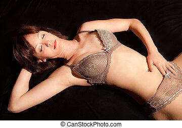 Portrait of a beautiful woman in underwear