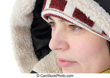 portrait of a beautiful woman in winter clothes