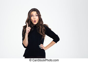 Portrait of a beautiful woman pointing finger up