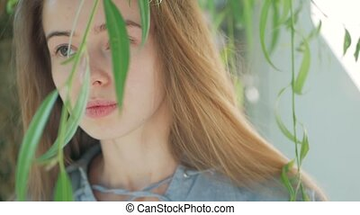 portrait of a beautiful woman with branch of weeping willow