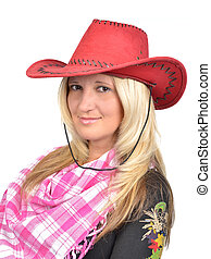 Portrait of a beautiful woman with cowboy's hat