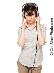 portrait of a beautiful woman with headphones on white background