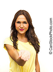 Portrait of a beautiful woman with her open hand