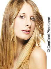 portrait of a beautiful woman with long blonde hairs on white background