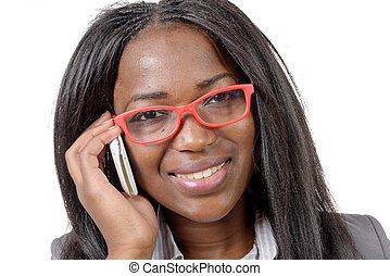 beautiful young african woman talking on cell phone