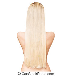Portrait Of A Beautiful Young Blond Woman With Long Straight Hair