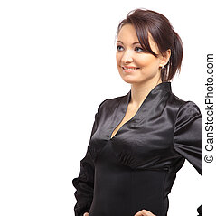 Portrait of a beautiful young business woman standing with folded hands over white background