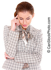 Portrait of a beautiful young business woman with headache