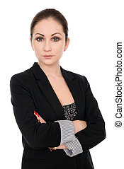 Portrait of a beautiful young business woman thinking