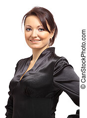 Portrait of a beautiful young businesswoman standing against white background