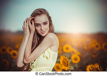 Portrait of a beautiful young caucasian woman outdoor