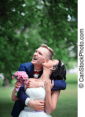 portrait of a beautiful young couple's wedding day
