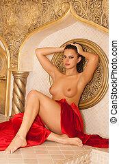 beautiful young girl in a Turkish bath