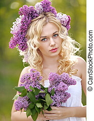 portrait of a beautiful young girl in spring