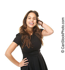 Portrait of a beautiful young lady smiling with hand in hair