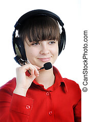 Portrait of a beautiful young lady with headset isolated on white background