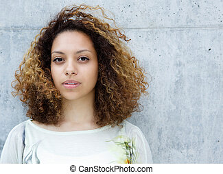 Portrait of a beautiful young mixed race woman