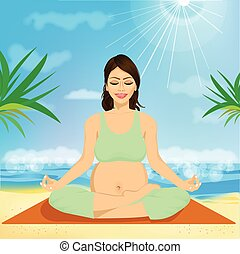 beautiful young pregnant woman sitting in yoga pose