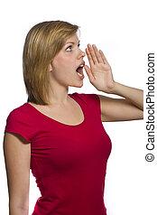 beautiful young shouting woman