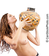 Portrait of a beautiful young topless girl with jug - Young...