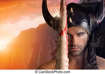 Portrait of a beautiful young warrior holding sword with fantasy background