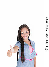 Portrait of a beautiful young woman showing ok, isolated on...
