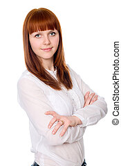Portrait of a beautiful young woman with folded arms