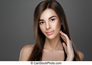 woman with perfect skin and natural make-up - portrait of a...